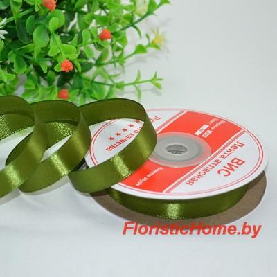 ЛЕНТА атласная, h 1.2 см х L 1 м, зелено-болотный
