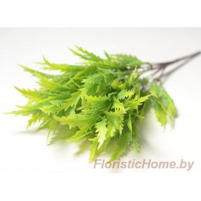 ВЕТКА Куст зелени , Пластик с напылением, L 35 см, теплый фисташковый