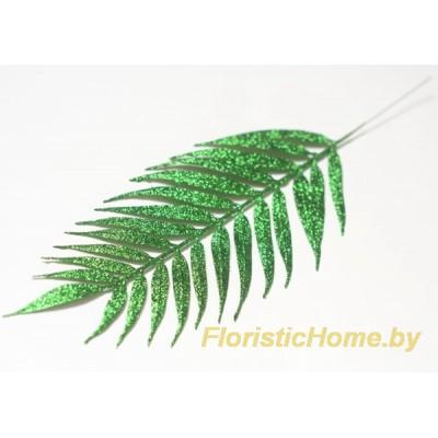 ВЕТКА Лист пальмы в глиттере, Пластик, L 40 см, зеленый