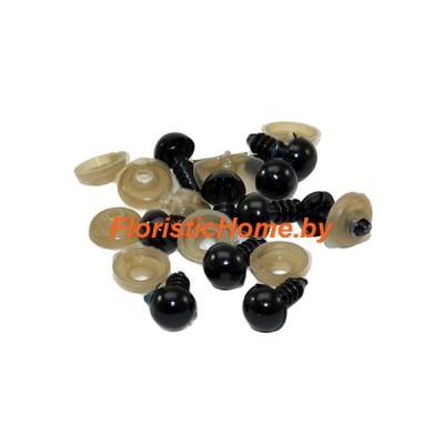 ГЛАЗКИ круглые винтовые 10 шт., d 0,8 см, черный