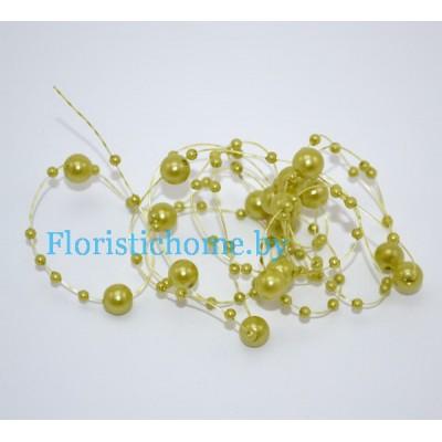 БУСИНКА, круглая на леске d 0.7 cм, L 1,3  м, , оливковый