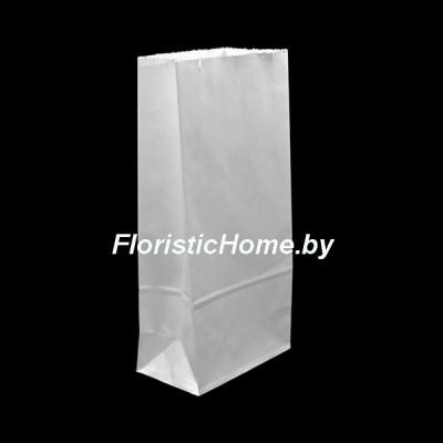 КРАФТ-ПАКЕТ с прямоугольным дном без ручек, 17 см х 8 см х 5 см  , белый