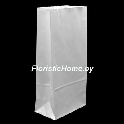 КРАФТ-ПАКЕТ с прямоугольным дном без ручек, 25 см х 12 см х 8 см  , белый