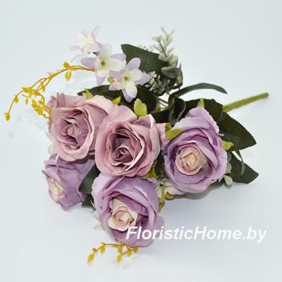 БУКЕТ ЦВЕТОВ Розы с эвкалиптом, h 48 см, лиловый-сиреневый