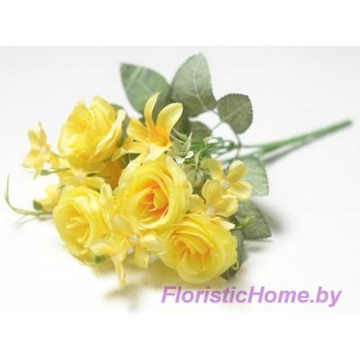 БУКЕТ ЦВЕТОВ Розы с мелкой лилией, h 29 см, лимонный