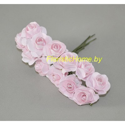 ИСКУССТВЕННЫЙ ЦВЕТОК Роза 12 шт. раскрытая, бумага, d 1,8 см, светло-розовый