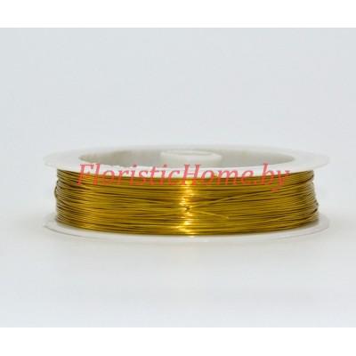 ПРОВОЛОКА , для бисера на катушке, d 0,5 мм х L 50 м, 50 гр., золотой