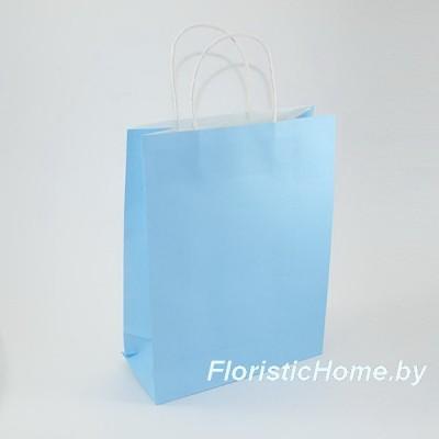 КРАФТ-ПАКЕТ Цветной с кручеными ручками, 15 см х 21 см х 8 см, голубой