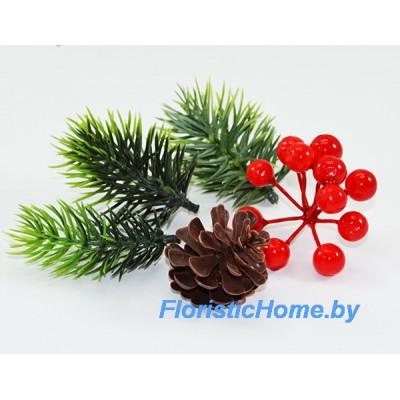 ДЕКОР  Новогодний набор с хвоей №1, пластик, разноразмерные, зеленый-красный-коричневый,