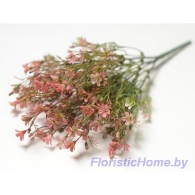 ВЕТКА Куст зелени с цветочками, Пластик, L 37 см, зеленый-коралловый