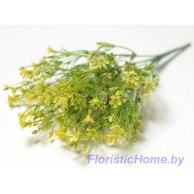 ВЕТКА Куст зелени с цветочками, Пластик, L 37 см, зеленый-лимонный