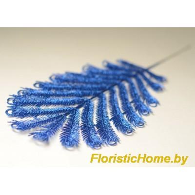 ВЕТКА Перышко павлина в глиттере, Пластик, L 36 см, синий