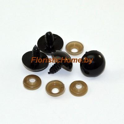 ГЛАЗКИ круглые винтовые 4 шт., d 2 см, черный