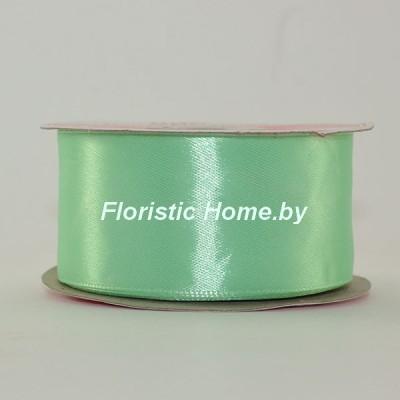 ЛЕНТА атласная, h 3,8 см х 1 м, мятно-зеленый