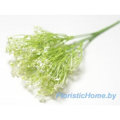 ВЕТКА Куст со звездчатыми цветочками, Пластик с напылением, h 34 см, молочный