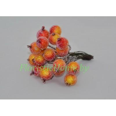 Клюква в сахаре на проволоке 20 ягод ., d 1,2 см, оранжевый-красный