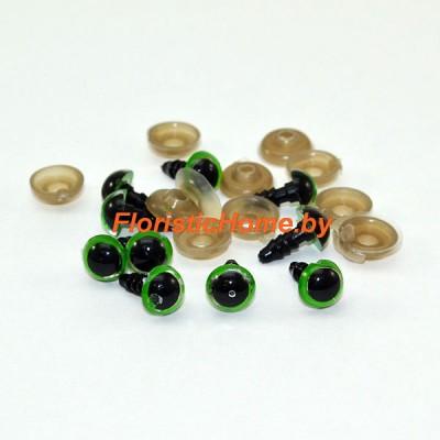 ГЛАЗКИ круглые винтовые с круглым зрачком 10 шт., d 1,2 см, зеленый