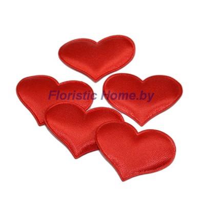 ДЕКОР  Патчи тканевые Сердца 5 шт , ткань, d 3,2 см, красный,