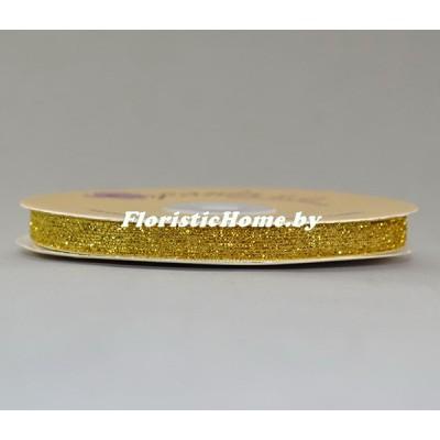 ЛЕНТА ДЕКОРАТИВНАЯ  бархатная с люрексом, h 1 см х 1 м, золотой