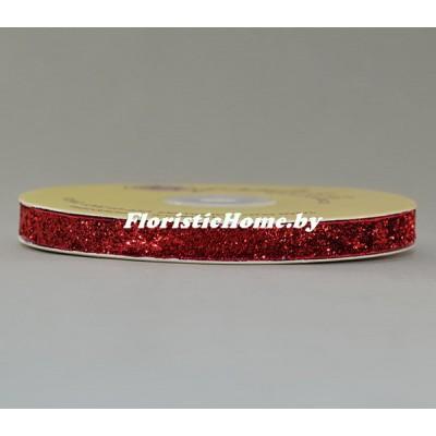 ЛЕНТА ДЕКОРАТИВНАЯ  бархатная с люрексом, h 1 см х 1 м, красный