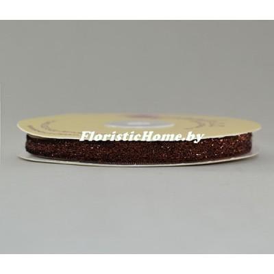 ЛЕНТА ДЕКОРАТИВНАЯ  бархатная с люрексом, h 1 см х 1 м, темно-шоколадный