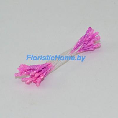 ТЫЧИНКИ Сахарные мелкие 25 штук в пучке , d 0,2 см, розово- сиреневый,