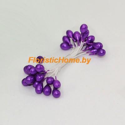 ТЫЧИНКИ Гладкие на нити  15 штук в пучке , d 0,5 см, темно-фиолетовый,