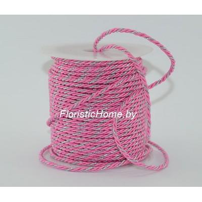 ЛЕНТА Шнур витой двухпрядный, d 3 мм х L 1 м, розовый-серебро