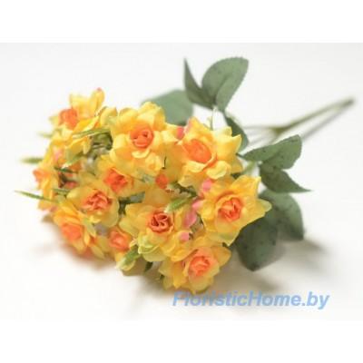 """БУКЕТ ЦВЕТОВ Роза """"ландора"""", h 27 см, желтый-оранжевый"""
