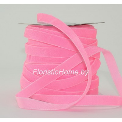 ЛЕНТА ДЕКОРАТИВНАЯ  бархатная, h 1 см х L 1 м, розовый