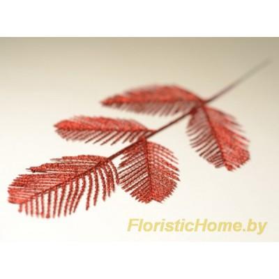 ВЕТКА Хвост павлина в глиттере, Пластик, L 40 см, красный