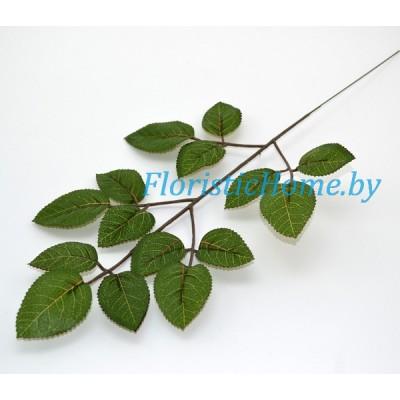 ЛИСТВА Розы, Ткань, L 47 см, темно-зеленый