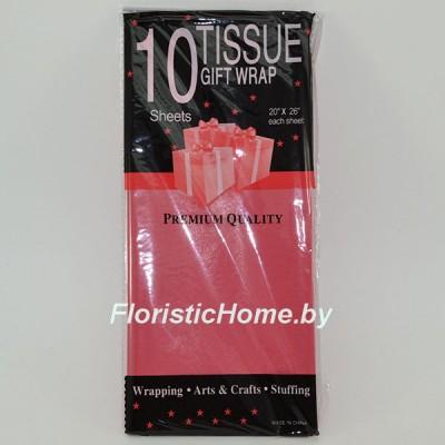 БУМАГА ТИШЬЮ 10 штук (упаковка), h 50 см х L 66 cм, красный