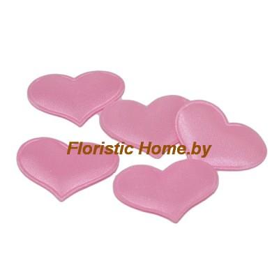 ДЕКОР  Патчи тканевые Сердца 5 шт , ткань, d 3,2 см, розовый,