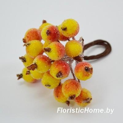 Клюква в сахаре на проволоке 20 ягод ., d 1,2 см, желто-оранжевый