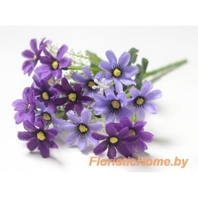 БУКЕТ ЦВЕТОВ Лютики с тычинками, h 33 см, чернильно-фиолетовый - темно-сиреневый