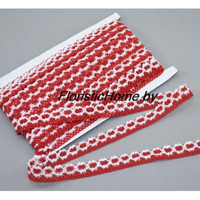 КРУЖЕВО Тканое h - 2,5 см (№12), Хлопок, красный-белый, L 1 м,