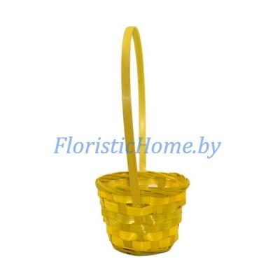 КОРЗИНКА ПЛЕТЕНАЯ Из шпона, d 13 см х h 9,5 см х h 27 см, желтый
