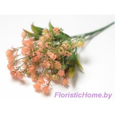 ВЕТКА Куст зелени с мелкими цветами, Пластик, L 32 см, коралловый-зеленый