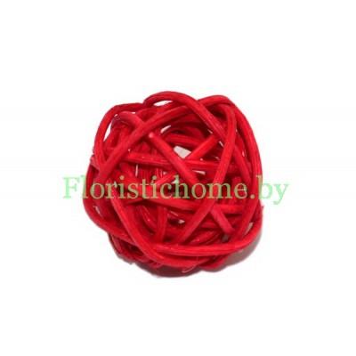 Ротанговый шар, d 3 см, красный