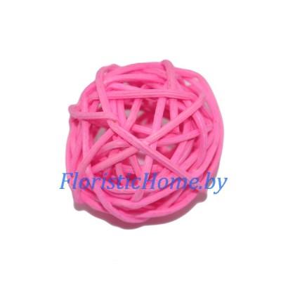 Ротанговый шар, d 3 см, розовый