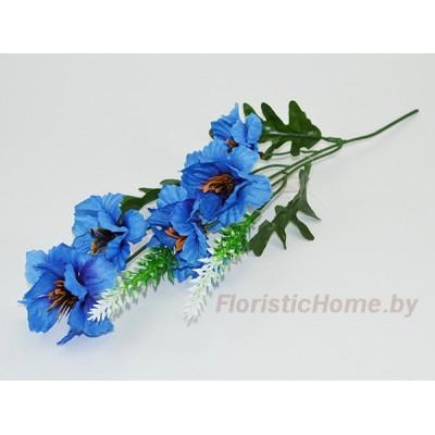 ИСКУССТВЕННЫЙ ЦВЕТОК Василек на веточке с тычинками, ткань, L 34 см, светло-синий