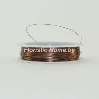 ПРОВОЛОКА , для бисера на катушке, d 0,4 мм х L 50 м, 50 гр., шоколадно-кофейный