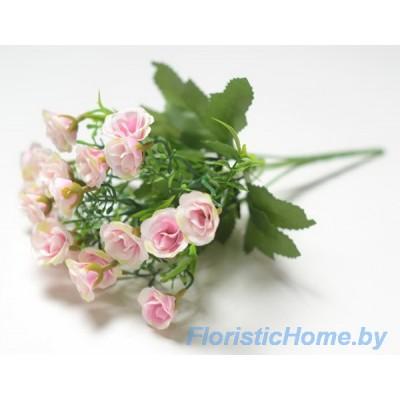 БУКЕТ ЦВЕТОВ Мелких розочек, h 29 см, розовый-белый