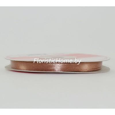 ЛЕНТА атласная, h 0,6 см х 1 м, кофейно-розовый