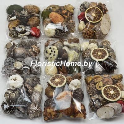 ПЛОДЫ Набор сухоцветов ( 6,0 ), 50-55 гр., L 1 - 4 см, микс