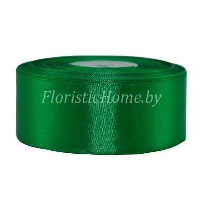 ЛЕНТА атласная, h 3,8 см х 1 м, темно-зеленый