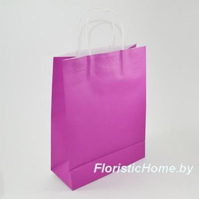 КРАФТ-ПАКЕТ Цветной с кручеными ручками, 15 см х 21 см х 8 см, пурпурно-фиолетовый