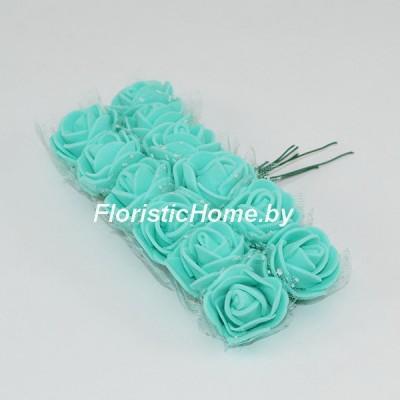 ИСКУССТВЕННЫЙ ЦВЕТОК Роза 12 шт. раскрытая с фатином, латекс, d 2,5 см, светло-изумрудный