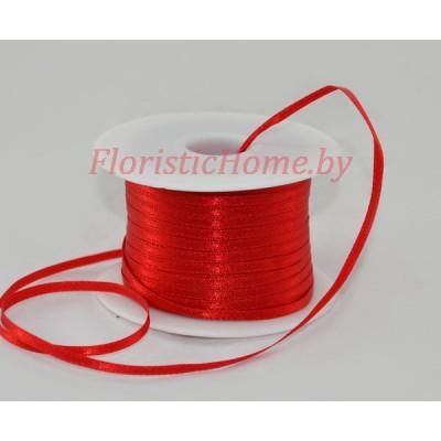 ЛЕНТА атласная, h 0,3 см х 1 м, красный